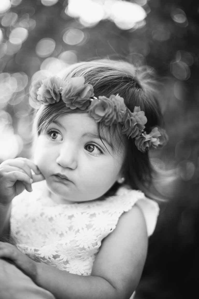 little girl with floral headpiece photo with bokeh in key biscayne florida